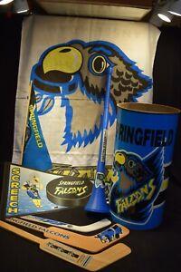 Springfield Falcons  Hockey Team Flag ,Trash Can , horn , hockey sticks ,pennant