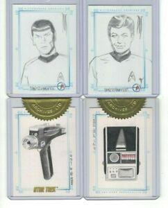 4 STAR TREK SKETCHAFEX SKETCH CARDS: SPOCK,BONES,PHASER,TRICORDER CASE TOPPERS