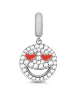 🦋💜'œ STERLING SILVER 925 RED HEART EYES SMILEY CHARM & GIFT POUCH LOVE