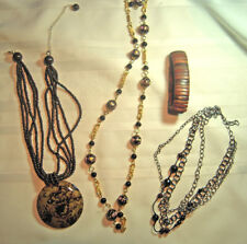 three fashion necklaces and bracelet
