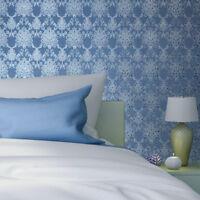 Blue Metallic Victorian Damask vinyl Non-Woven Wallpaper embossed Textured rolls