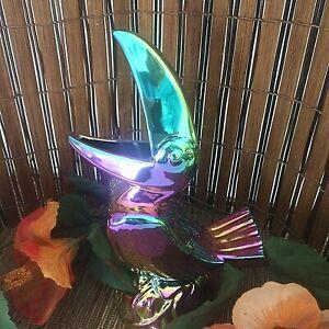 Jungle Bird Rainbow Opal Toucan Tiki Mug Whittle Woodshop Rare SEE VIDEO