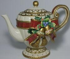 Fitz Floyd Classics Holiday Christmas Tea Pot w/Lid Kettle Handle Bells Ribbon