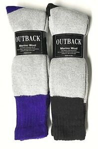 Men 4 Pairs Gray w/Purple &Black Out DoorThermal Merino Wool Boot Sock Size10-13