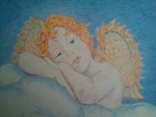 "Original Color Pencil Drawing Cherub ""Heavenly Thoughts"" RAMfish Artist"