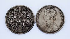 Lot of 2 India Silver Rupees (1898 and 1901) VF Condition