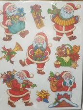 GLITTER SANTA Window STICKERS Clings Reusable Christmas Decorations Decal Xmas