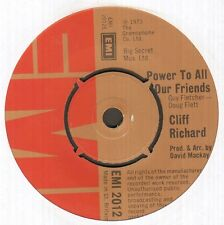 "CLIFF RICHARD Power to all our friends 7"" B/W come back billie jo, EMI 2012"