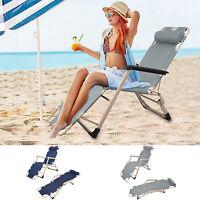 VILOBOS 2PC Sun Lounger Outdoor Folding Reclining Chair Pool Beach Chaise Lounge