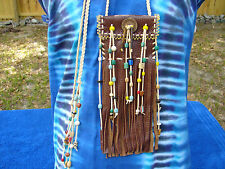 Fringed Leather Beaded Medicine Bag Necklace Pouch Native American Regalia