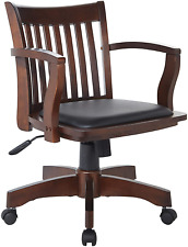 Home Furnishings Deluxe Wood Bankers Desk Chair With Black Vinyl Padded Seat New