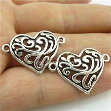 14057*30PCS Alloy Vintage Silver Tone Love Heart Connector Pendant Charms