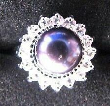 RING Crystal Accents Size 8 Freshwater BLACK PEARL