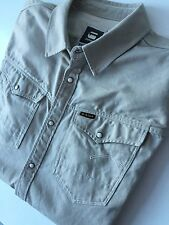 G Star Raw Denim Men's Arc 3d Thick Khaki Shirt - Popper Button - Size XXL
