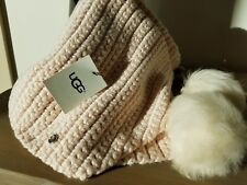 1069715ae2c99 New UGG Woman s Knit Scarf with Pom Poms One Size Fresh Water Pearl is the  color