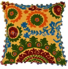 """Vintage Suzani Cushion Case Handmade Floral Embroidered 16"""" Square Pillow Cover"""