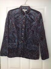 Coldwater Creek Brown & Blue Velvet Look Paisley Jacket Size Medium NWT