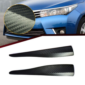 2x Carbon Fiber Car Bumper Corner Lip Side Scratch Protector Strap Guard Strip