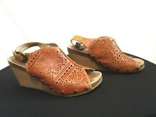 Pikolinos Brown Perforated Leather Slingback Wedge Heel Sandals 41EU/10.5-11US