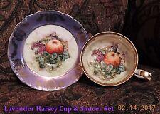 ROYAL HALSEY Very Fine CUP & SAUCER Set Iridescent Luster Purple Fruit Pattern