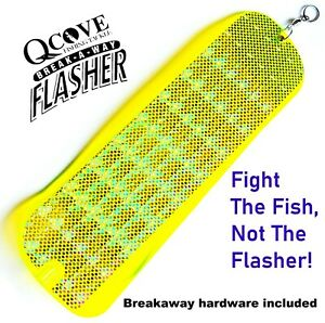 """QCove Rigged 11"""" UV Chartreuse Breakaway Salmon / Trout Flasher ( One Package )"""