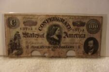 Authentic Confederate States America $100 Dollars Note Currency 1864 Rarity 4