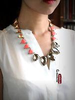 Collier Chaine Art Deco Triangle Saumon Ambré Vintage Original Ancien AZ2