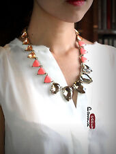 Chain Necklace Art Deco Triangle Salmon Amber Vintage Original Antique AZ2