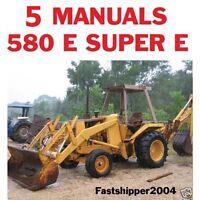 5 Case 580 E 580E Super E Tractor Backhoe Loader Service Manual Parts Catalog CD
