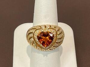 Sonia B Madeira Citrine & Diamond Cocktail Band 14K 585 Yellow Gold Ring Size 7