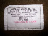 Genuine World War 2 Wool Blanket 1942 Army Medic Blanket Rare Inspector Stamp