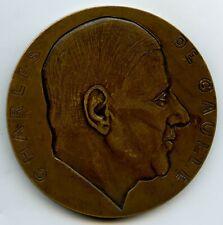 1945 FRANCE BRONZE MEDAL CHARLES DE GAULLE ARC DE TRIOMPHE BY RIVAUD