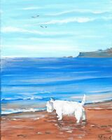 1.5x2 DOLLHOUSE MINIATURE PRINT OF PAINTING RYTA 1:12 SCALE WESTIE seascape dog