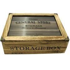 Vintage General Store 3 Section Wooden Tea Bag, Candy Storage Box With Glass Lid