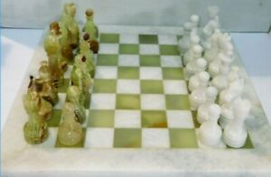 """12""""x12"""" Marble Chess Set Jade & White Hand Made Superior Quality Carved Pieces"""