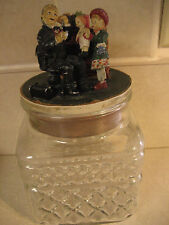 Norman Rockwell Canister w/ Corked lid Doctor, Child & Doll Figurine Glass VTG!