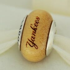 Authentic Pandora USB790705-G019 New York Yankees Baseball Wood Bead Charm