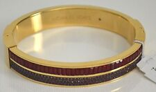 Michael Kors Color Crush Gold-Tone Crystal Hinged Bangle Bracelet MKJ6999710 NWT