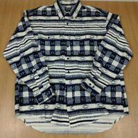 Vintage Wrangler Mens Aztec Cowboy Cut Shirt Native Size 17.5-36 Blue