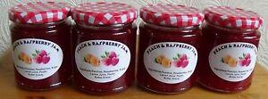 4 Jars of Homemade Peach & Raspberry Jam - 8 oz- £8