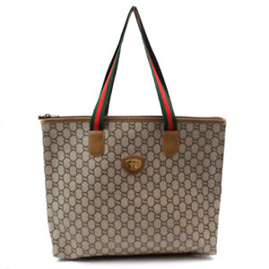 GUCCI Tote Bag Sherry Line PVCx Leather Beige GGPlats