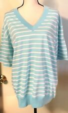 Carriage Court Blue White Stripe Short Sleeve Shirt Top Size 1X