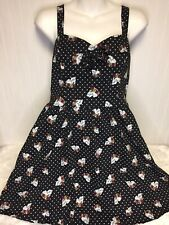 Hot Topic Womens Black Skull Polka Dot Sleeveless Dress Medium