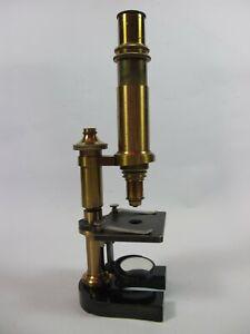 Antique brass monocular Microscope by Ernst Leitz. No.15697.
