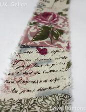 60mm RIBBON HESSIAN ROSES SCRIPT BURLAP JUTE 1m CUT LENGTHS ROLL RUSTIC WEDDING