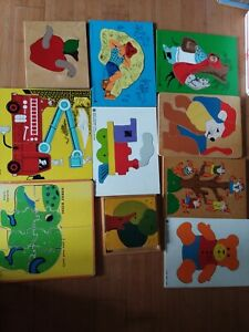 Lot of 10 Vintage Wooden Puzzles