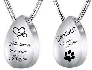 ID Asche Medallion + Kette mit Gravur nach Wunsch Urne Memorial Tropfen Anhänger