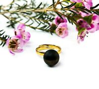 Black Baltic Amber Gold Plated Ring Matte Round Unpolished Stone Adjustable Size
