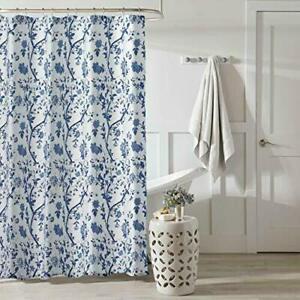 Laura Ashley Shower Curtain Charlotte Blue & White Floral Lovely Botanical NEW!