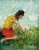 ANDRE DLUHOS ORIGINAL OIL PAINTING Spring Wild Flowers Field Meadow Woman Figure